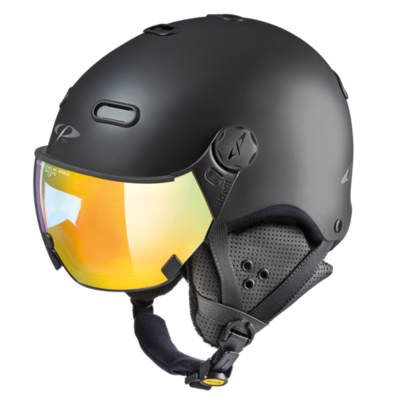 Ski Helmet With Visor Black - CP Carachillo - Photochromic Mirror Visor  ☁/❄/☀