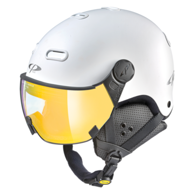 Ski Helmet With Visor White - CP Carachillo - Mirror Visor  (☁/❄/☀)