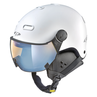 Ski Helmet with Visor White - CP Carachillo - Photochromic Polarized Mirror Visor  (☁/❄/☀)