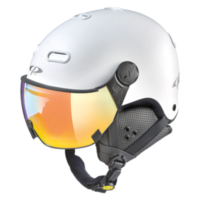 Ski Helmet With Visor White - CP Carachillo - Photochromic Mirror Visor  (☁/❄/☀)