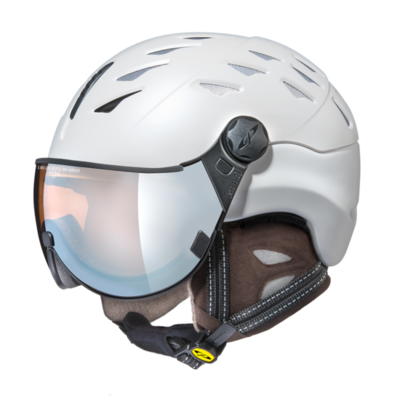 Helmet With Visor cp cuma cashmere pol vario - Photochromic/Polarized/Mirror ❄/☁/☀  - white