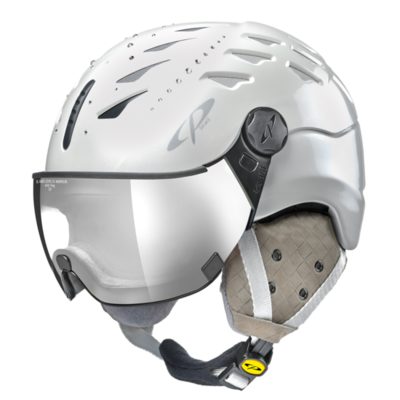 Helmet With Visor cp cuma swarovski elements - Photochromic/Mirror ❄/☁/☀ - white