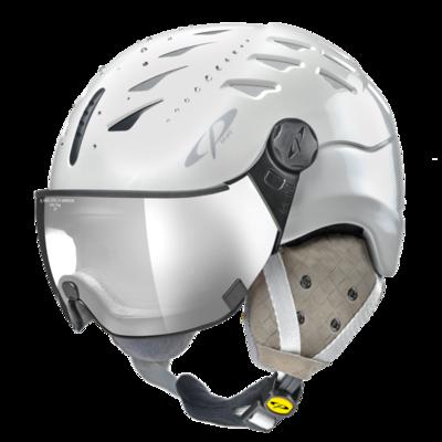 Helmet With Visor cp cuma swarovski elements - Photochromic/Mirror ❄/☁/☀ - white