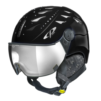 Helmet With Visor cp cuma swarovski elements - Photochromic/Mirror ☁/❄/☀ - black