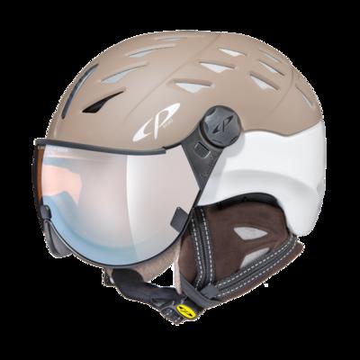 Helmet With Visor cp cuma cashmere vario  - Photochromic/Mirror ☁/❄/☀ - brown/ white