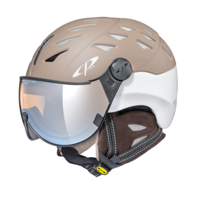Helmet With Visor cp cuma cashmere pol vario - Photochromic/Polarized/Mirror ❄/☁/☀ - brown/ white