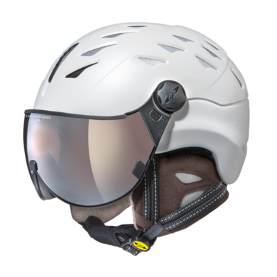 Helmet With Visor cp cuma cashmere vario - Photochromic/Mirror ☁/❄/☀ - white