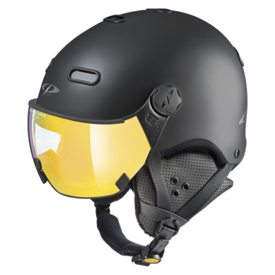 Ski Helmet with Visor Black - CP Carachillo - Mirror Visor  ☁/❄/☀