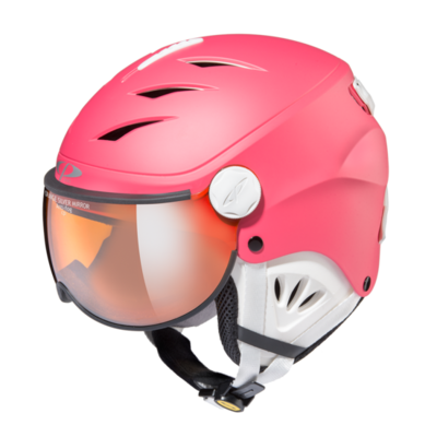 Kids Ski Helmet with Visor Pink White - Cp Camulino - Mirror Visor - ☁/❄/☀