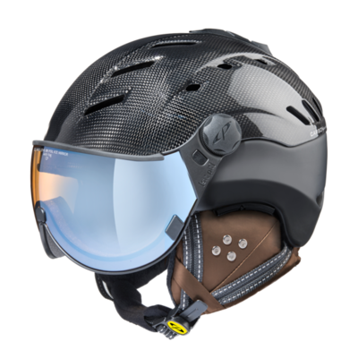Ski Helmet with Visor Black - Cp Camurai Carbon- Photochromic Polarized Mirror Visor (☁/❄/☀)