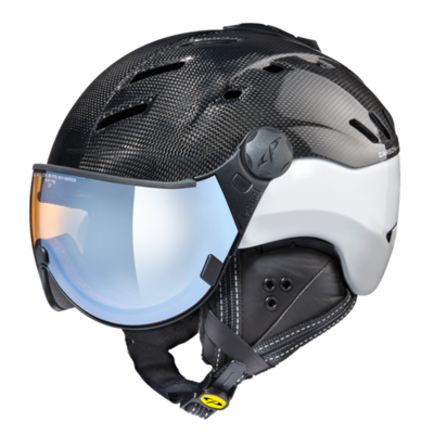 CP CAMURAI SKI HELMET - CARBON SHINY WHITE - Photochromic/Polarized/Mirror  (❄/☁/☀)