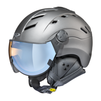 Helmet With Visor Grey - Cp Camurai Titan - Photochromic Polarized Mirror Visor (☁/❄/☀)