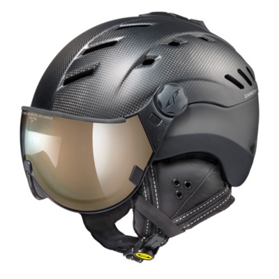 Helmet With Visor Black - Cp Camurai Carbon - Photochromic Polarized Mirror Visor (☁/❄/☀)