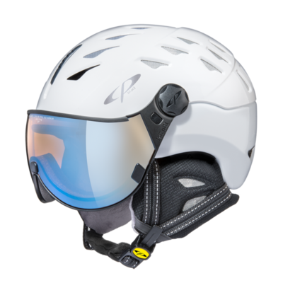 Helmet With Visor White - Cp Cuma - Photochromic Polarized Mirror Visor (☁/❄/☀)