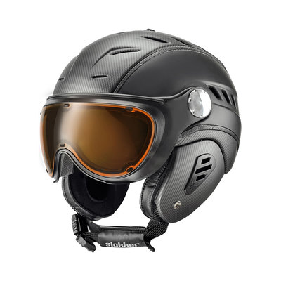 SLOKKER BAKKA SKI HELMET - CARBON BLACK - PHOTOCHROMIC POLARIZED VISOR - Cat.1-2