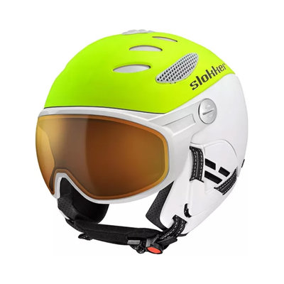 SLOKKER BALO SKI HELMET - Yellow White - ORANGE PHOTOCHROMIC POLARIZED VISOR CAT.1-2