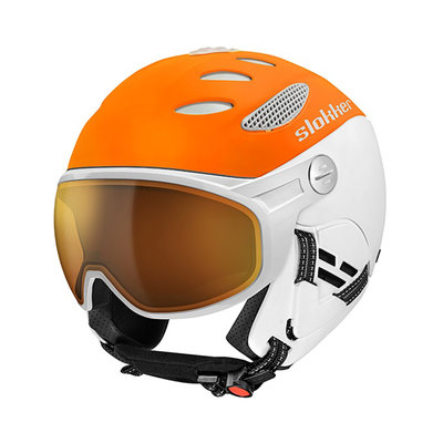 SLOKKER BALO SKI HELMET - Orange White - PHOTOCHROMIC POLARIZED VISOR CAT.1-2