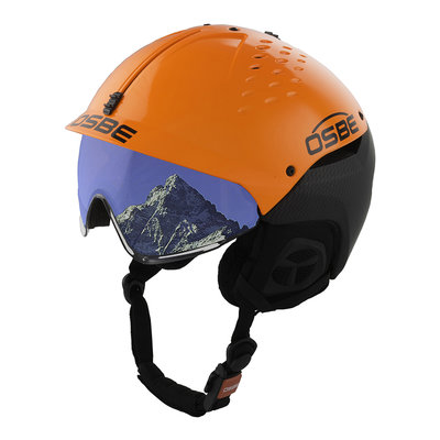 Ski helmet Osbe Avenger With Visor Carbon look Orange cat. 2 (☁/❄)