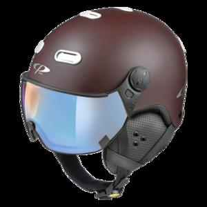 Snowboard helm met Vizier CP Carachillo brown-white Dl Vario Lens Brown Pol Ice Mirror