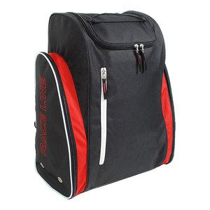 skischoenen tas met helmvak zwart rood skihelmtas