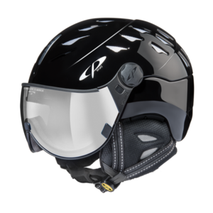 Helm Cuma black shiny silver Mirror